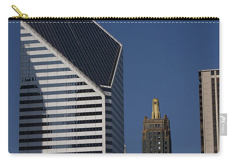 Chicago Windy City Blue Sky Building Skyscraper Metro Urban Tall High Big Carry-all Pouch featuring the photograph Rising High by Andrei Shliakhau