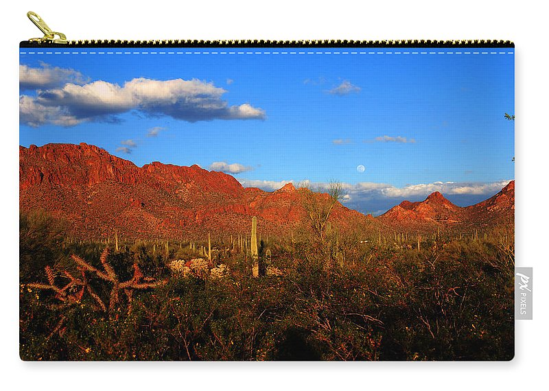 Rising Moon Carry-all Pouch featuring the photograph Rising Moon In Arizona by Susanne Van Hulst