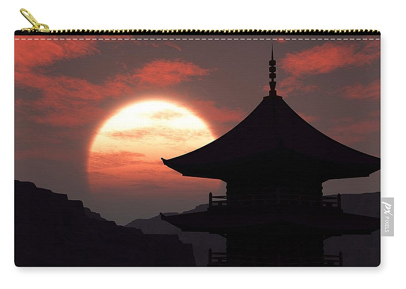 Oriental Carry-all Pouch featuring the digital art Rising Sun by Richard Rizzo