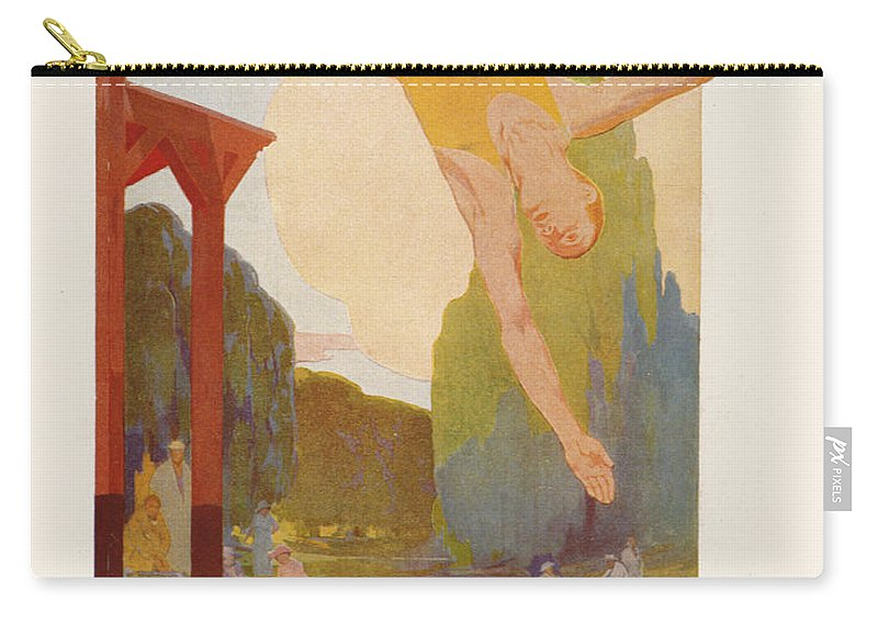 Bridge Carry-all Pouch featuring the painting River Diver by Rene Lelong