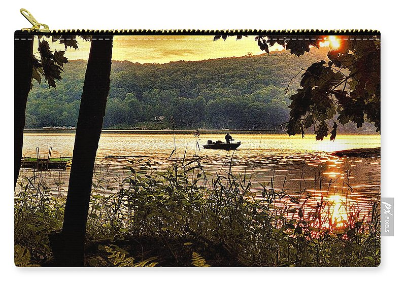 Fishing Carry-all Pouch featuring the photograph River Fishing by Jerry O'Rourke