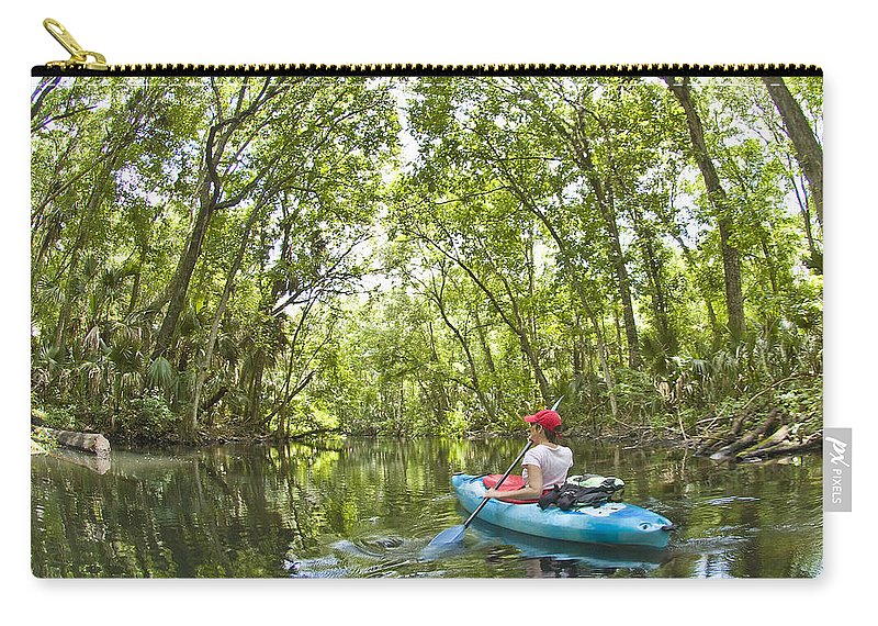 Kayak Carry-all Pouch featuring the photograph River Kayak by Steve Williams