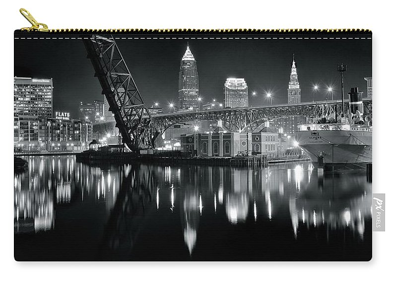 Cleveland Carry-all Pouch featuring the photograph River Lights In Black And White by Frozen in Time Fine Art Photography