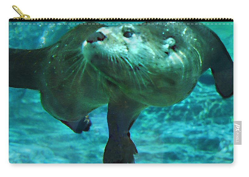 Animal Carry-all Pouch featuring the photograph River Otter by Steve Karol