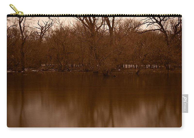 Black Carry-all Pouch featuring the photograph River Reflections by Steve Gadomski