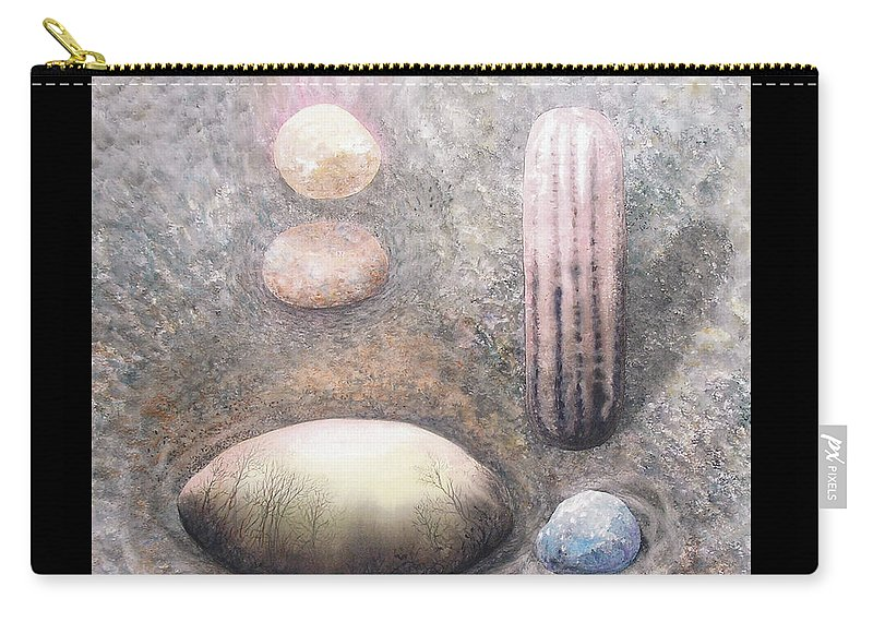Abstract Carry-all Pouch featuring the painting River Rock 1 by Valerie Meotti
