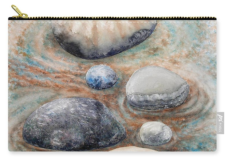 Abstract Carry-all Pouch featuring the painting River Rock 2 by Valerie Meotti
