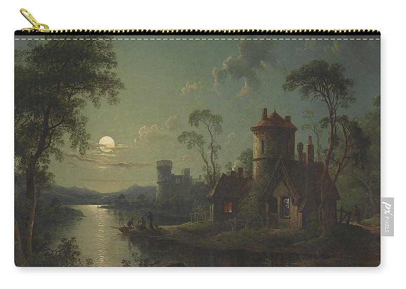 Painting Carry-all Pouch featuring the painting River Scene by Mountain Dreams