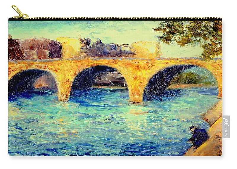 Impressionism Carry-all Pouch featuring the painting River Seine Bridge by Gail Kirtz