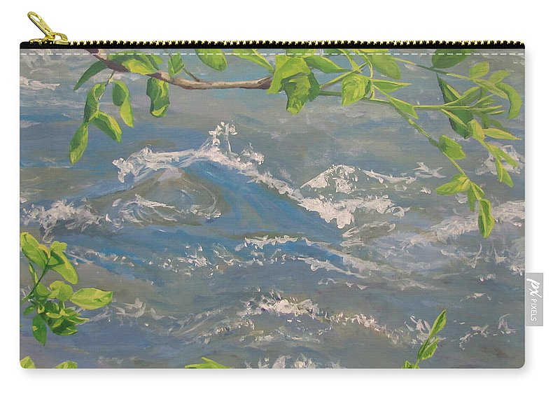 New Leaves Carry-all Pouch featuring the painting River Spring by Karen Ilari