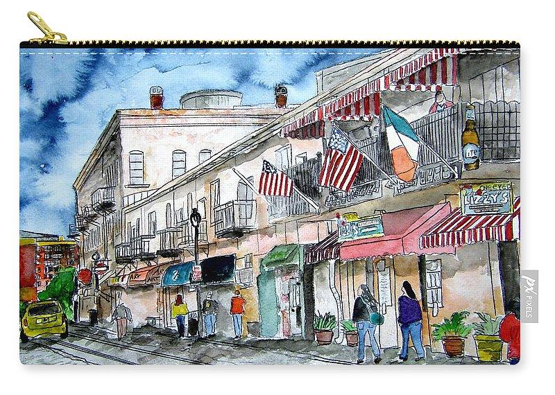 Savannah Carry-all Pouch featuring the painting River Street Savannah Georgia by Derek Mccrea