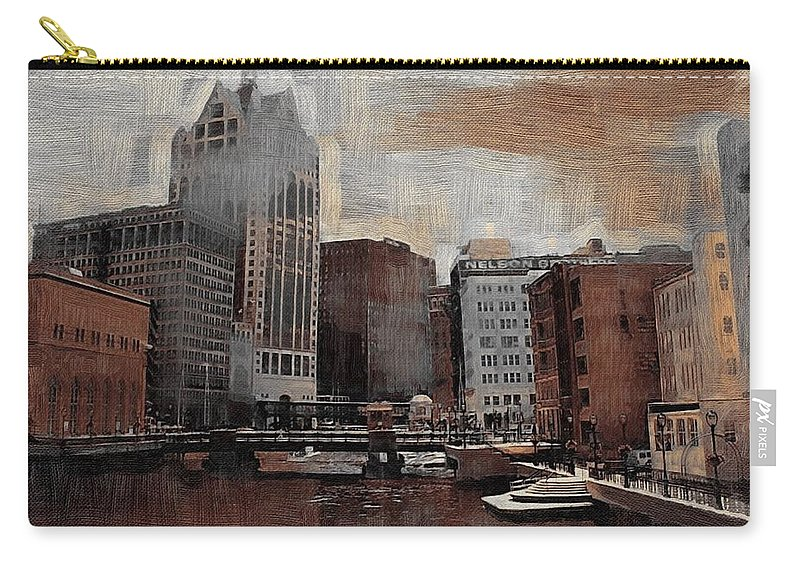 River Carry-all Pouch featuring the digital art River View Aged by Anita Burgermeister
