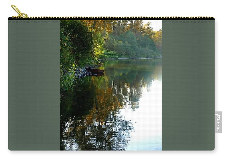 River Rope Swing Boat Carry-all Pouch featuring the pyrography River View by Amber Carpenter