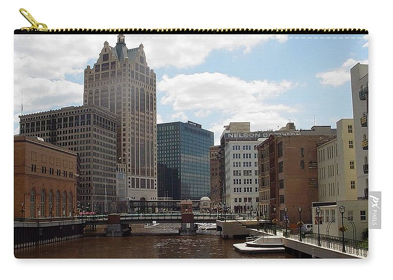 Milwaukee Carry-all Pouch featuring the photograph River View by Anita Burgermeister