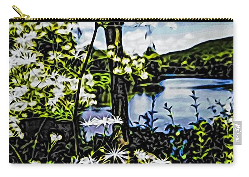 Nature Beauty In Nature Growth Lake Tree Tranquility Plant Water Scenics Day Outdoors Tranquil Scene Sky Flower Fragility Freshness River Lowers Carry-all Pouch featuring the photograph River View Through Flowers. On The Bridge Of Flowers. by Mark Sellers