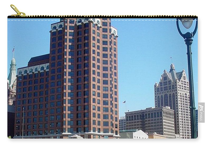 Milwaukee Carry-all Pouch featuring the photograph River Walk View Photo by Anita Burgermeister