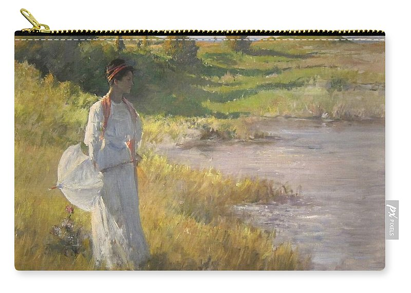 An_afternoon_stroll_by_william_merritt_chase Carry-all Pouch featuring the painting River by William Merritt