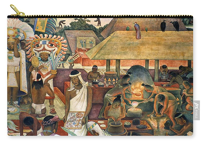 1925 Carry-all Pouch featuring the photograph Rivera: Pre-columbian Life by Granger