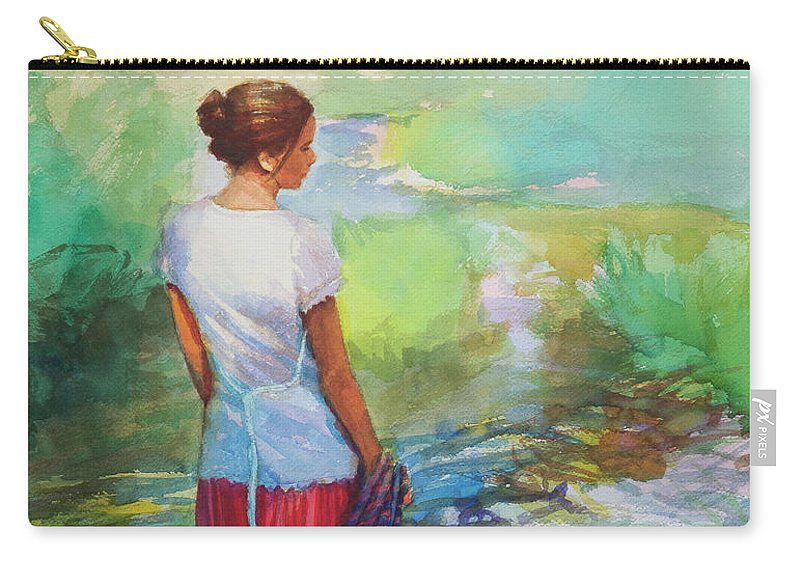 Country Carry-all Pouch featuring the painting Riverside Muse by Steve Henderson