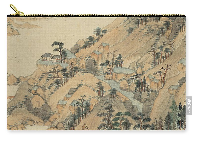 Riverside Village Carry-all Pouch featuring the painting Riverside Village by Wang Jian