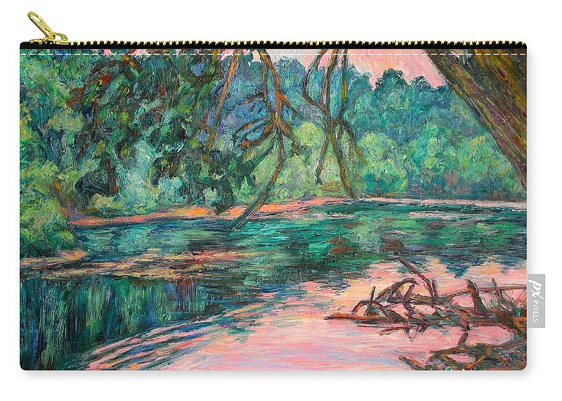 Riverview Park Carry-all Pouch featuring the painting Riverview At Dusk by Kendall Kessler