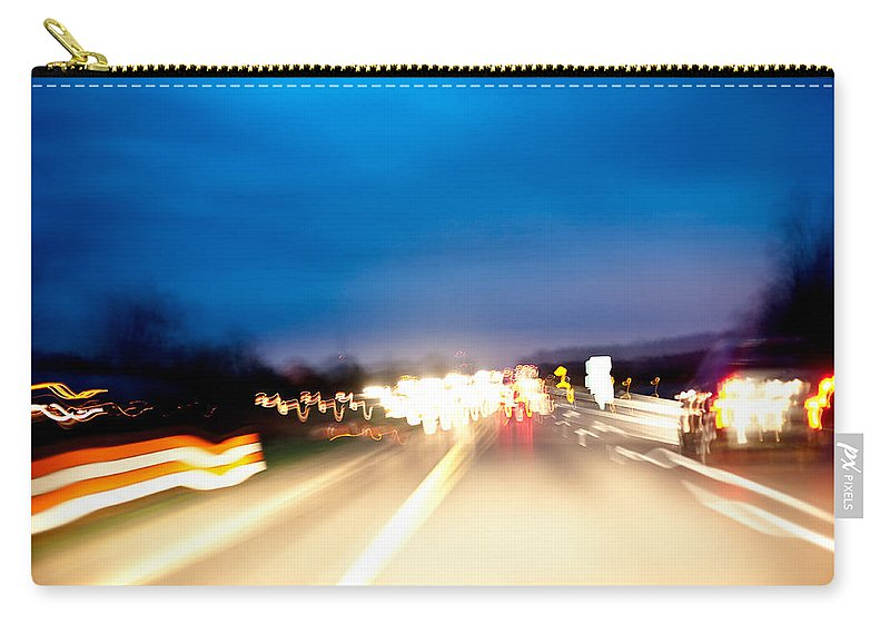 Freeway Carry-all Pouch featuring the photograph Road At Night 5 by Steven Dunn