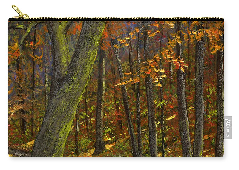 Landscape Carry-all Pouch featuring the painting Road In The Woods by Frank Wilson