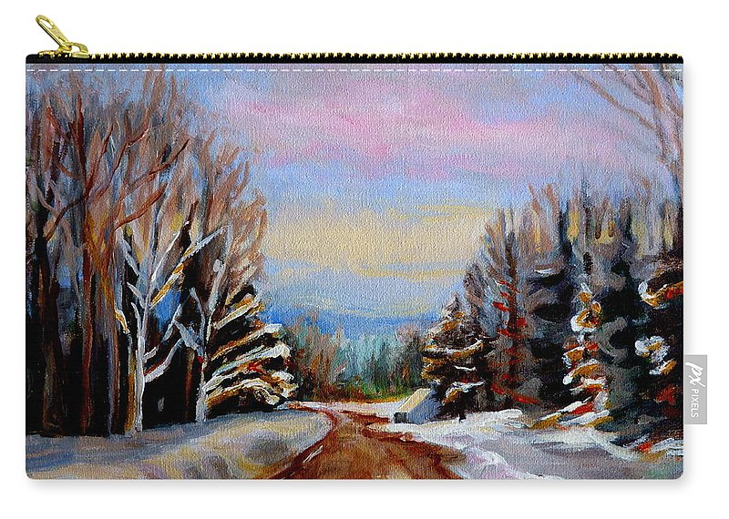 Road To Knowlton Quebec Carry-all Pouch featuring the painting Road To Knowlton Quebec by Carole Spandau