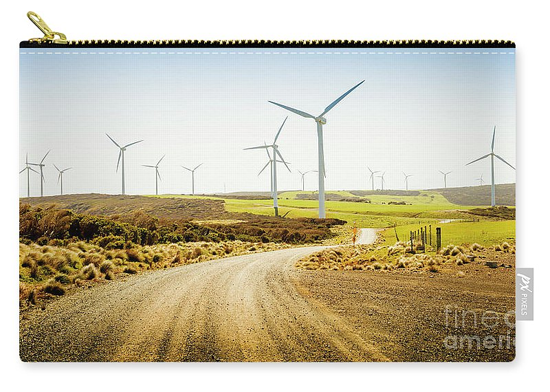 Green Carry-all Pouch featuring the photograph Road To Natural Energy by Jorgo Photography - Wall Art Gallery