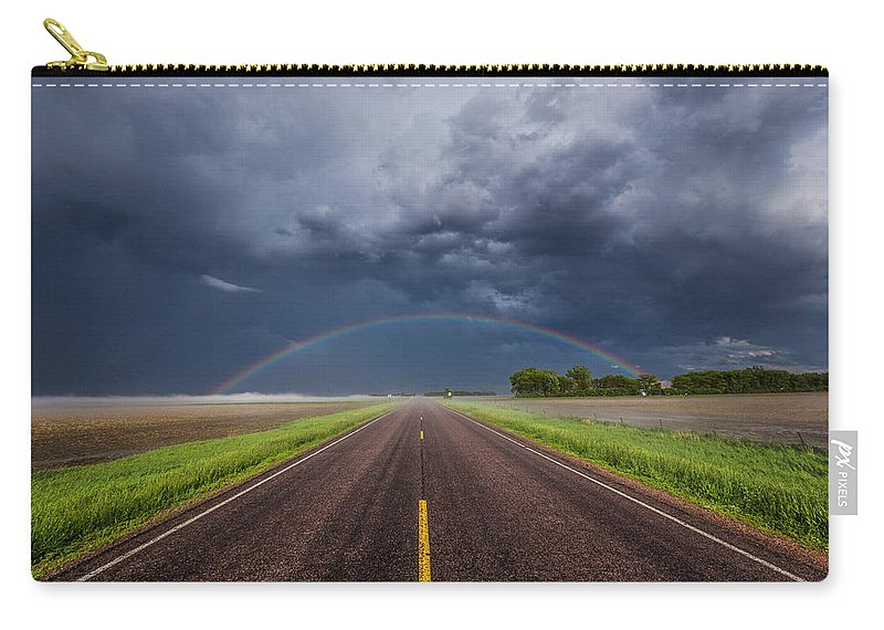 #500px #aaron J. Groen #backside #beautiful #cloud #clouds #crazy #eastern #hail Fog Carry-all Pouch featuring the photograph Road To Nowhere - Rainbow by Aaron J Groen