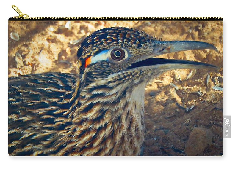 Arizona Carry-all Pouch featuring the photograph Roadrunner Portrait by Judy Kennedy