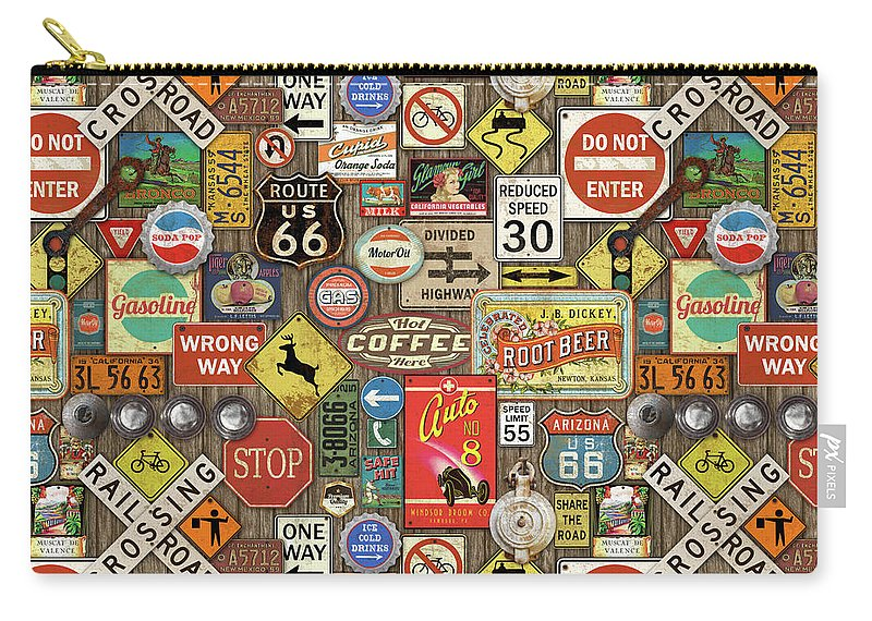Route 66 Carry-all Pouch featuring the painting Roads Signs On Wood-jp3958-b by Jean Plout