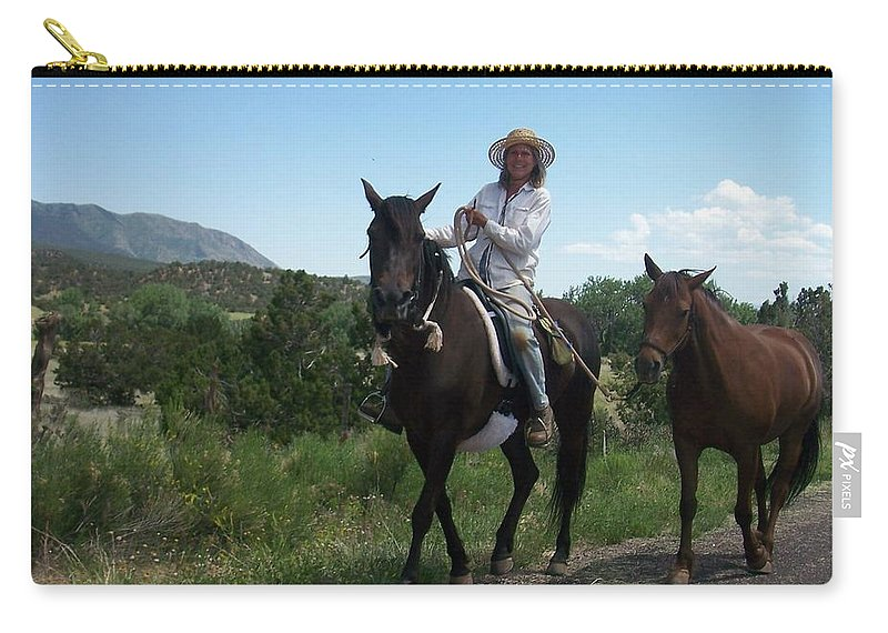 Horses Carry-all Pouch featuring the photograph Roadside Horses by Anita Burgermeister