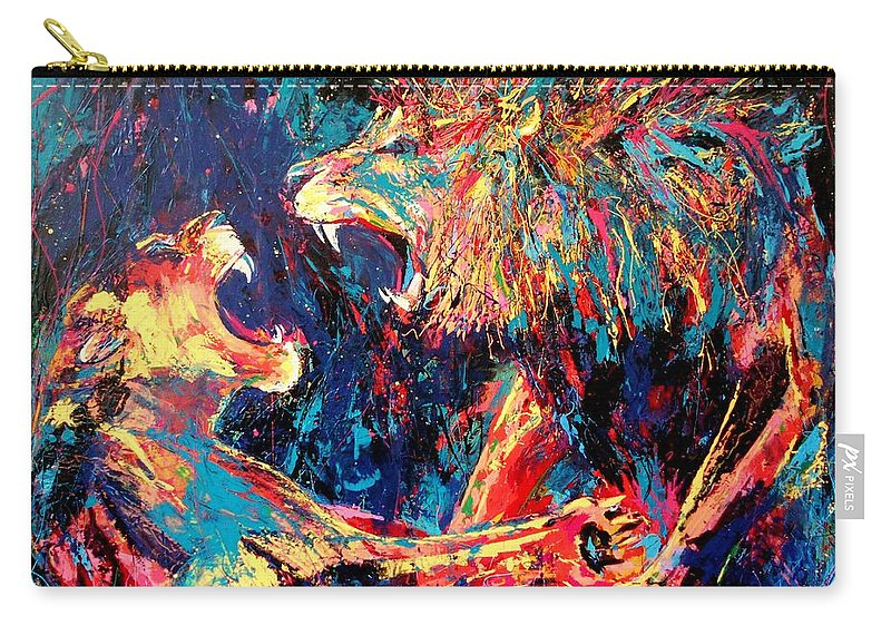 Roar Carry-all Pouch featuring the painting Roar Large Work by Angie Wright