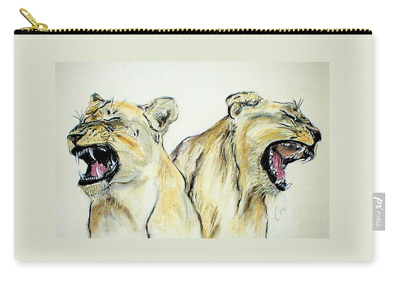 Lion Carry-all Pouch featuring the drawing Roaring Times by Cori Solomon