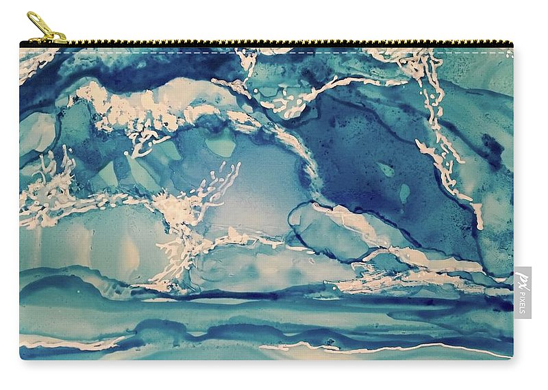 Dynamic Blues And Ocean Movement Carry-all Pouch featuring the painting Roaring Waves by Leti C Stiles