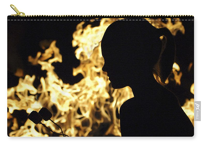 Fire Carry-all Pouch featuring the photograph Roasting Marshmallows Over An Open Fire by Jill Reger
