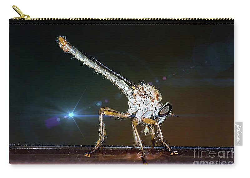 Robberfly Carry-all Pouch featuring the photograph Robber Fly With It's Prey- Efferia Albibarbis by Michael Moriarty