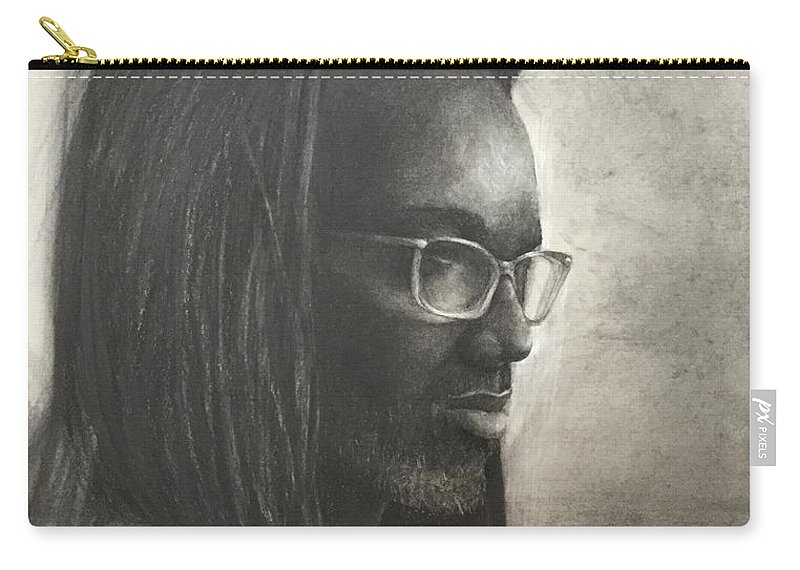 Glasses Carry-all Pouch featuring the drawing Robert by Elvie Becker
