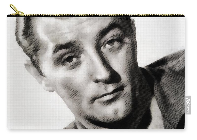 Hollywood Carry-all Pouch featuring the painting Robert Mitchum, Vintage Actor by John Springfield