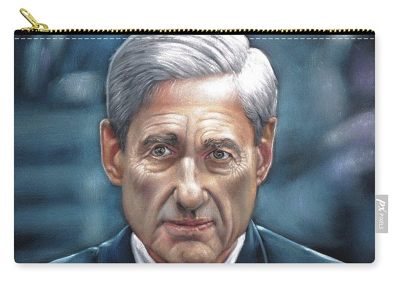 Robert Mueller Portrait Carry-all Pouch featuring the painting Robert Mueller Portrait , Head Of The Special Counsel Investigation by Argo