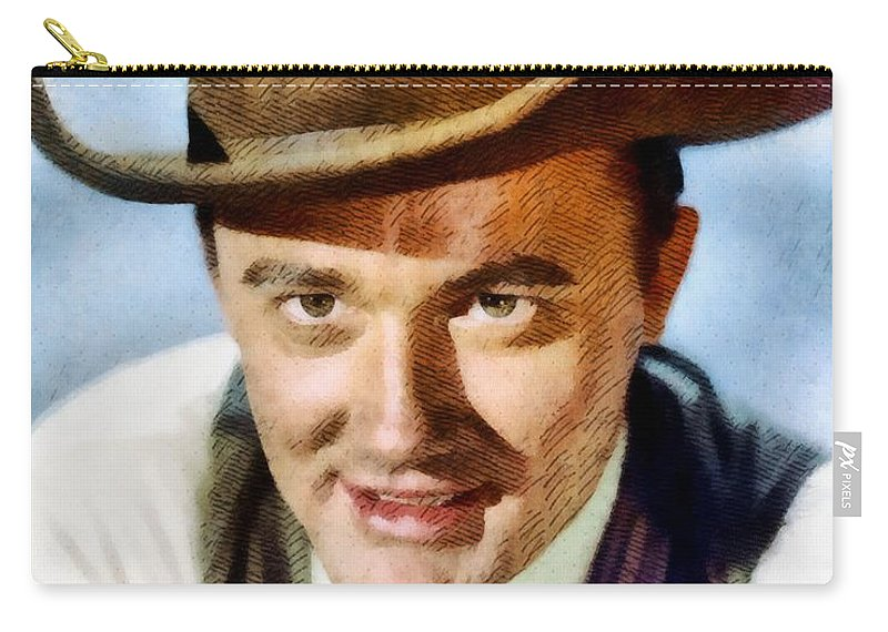Hollywood Carry-all Pouch featuring the painting Robert Vaughn, Vintage Actor by John Springfield