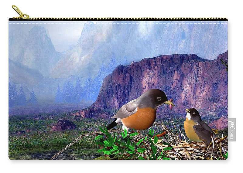 Bird Carry-all Pouch featuring the digital art Robin Feeding Baby Robin by John Junek