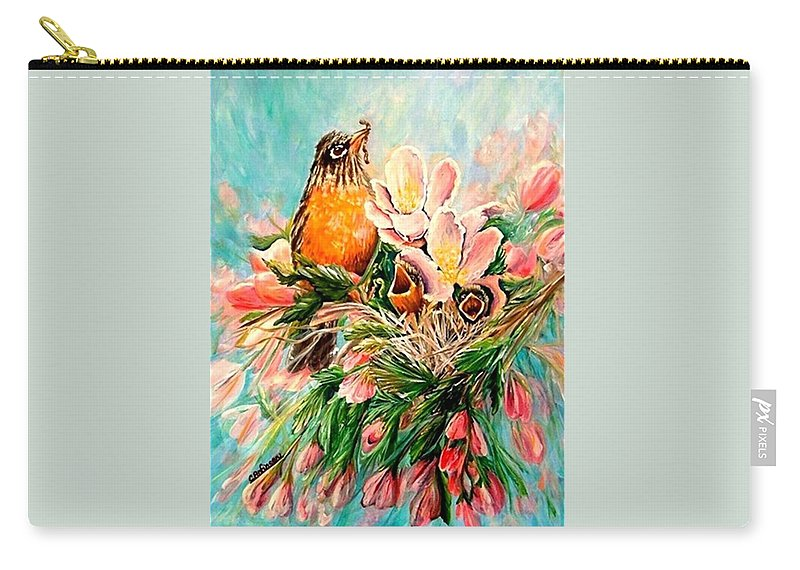 Robins Carry-all Pouch featuring the painting Robin Hood by Carol Allen Anfinsen