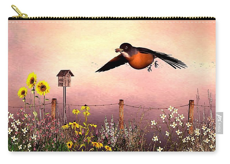 Bird Carry-all Pouch featuring the digital art Robin In Flight by John Junek