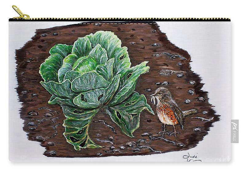 Robin Carry-all Pouch featuring the painting Robin In The Gardin by Judy Kirouac