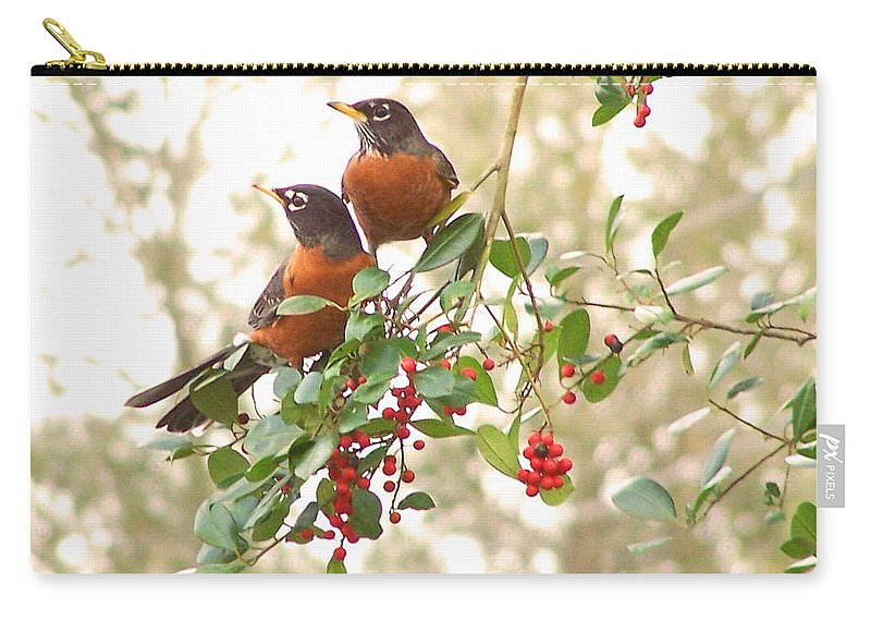 Nature Carry-all Pouch featuring the photograph Robins In Holly by Peg Urban