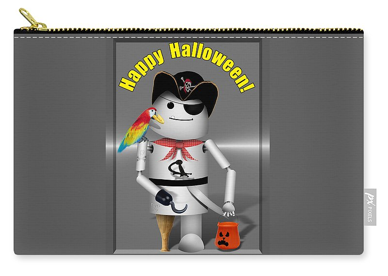 Gravityx9 Carry-all Pouch featuring the mixed media Robo-x9 Trick Or Treat Time by Gravityx9 Designs