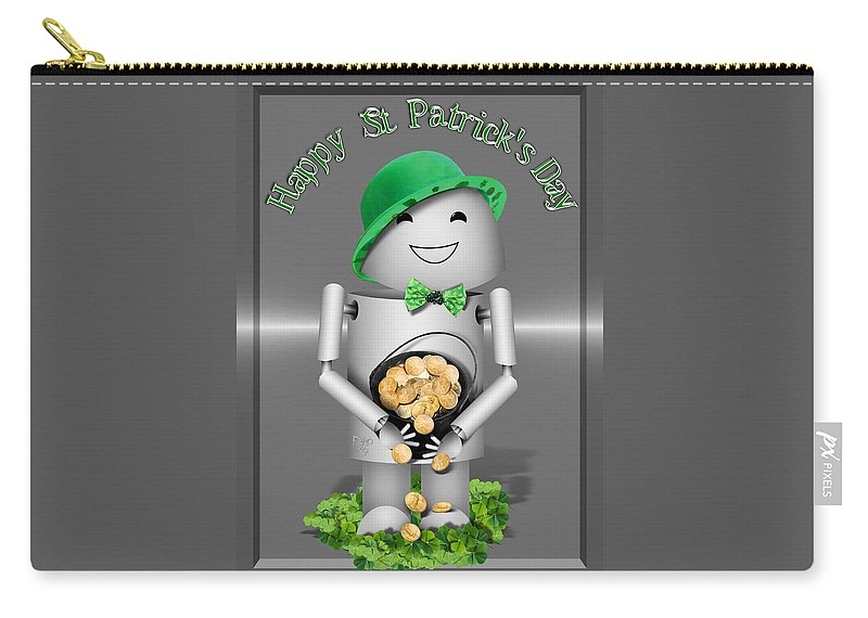 Gravityx9 Carry-all Pouch featuring the mixed media Robo-x9 With A Pot Of Gold by Gravityx9  Designs