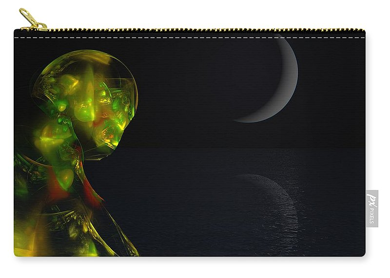Abstract Digital Painting Carry-all Pouch featuring the digital art Robot Moonlight Serenade by David Lane